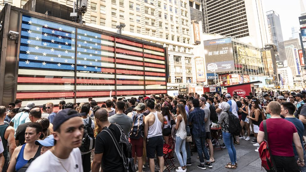 A Gymshark event in Times Square, New York