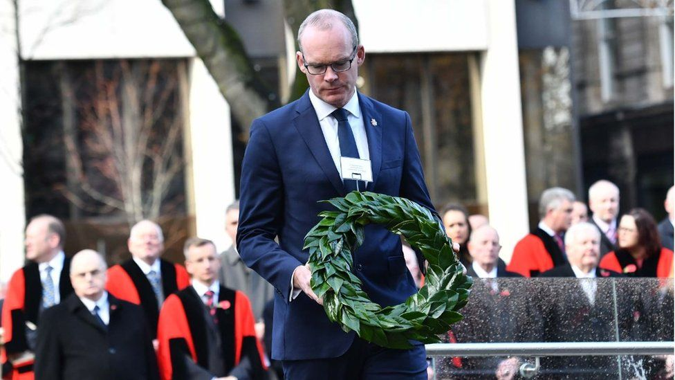 Irish Deputy Prime Minister Simon Coveney attends Armistice Day centenary commemorations in Belfast