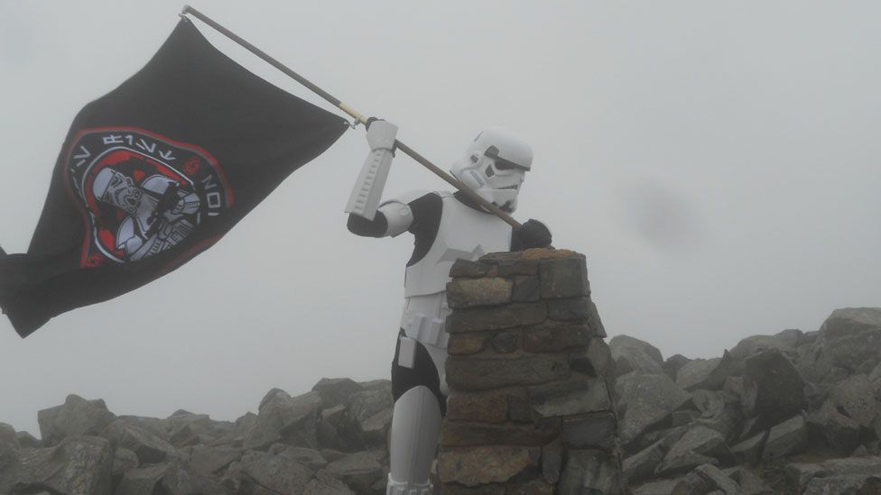 Ashley Broomhall in stormtrooper costume during walk up Scafell Pike