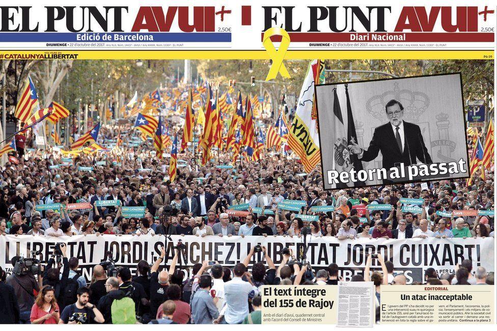 El Punt Avui front page, 22 October