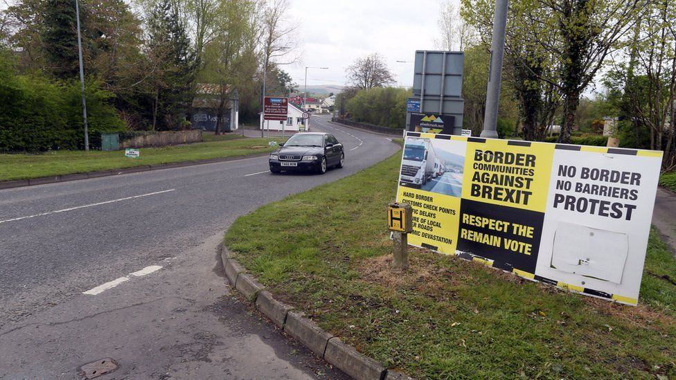 Brexit posters at the border crossing at Muff in Co Donegal near Lough Foyle, on the border with Northern Ireland and Donegal in the Republic of Ireland. April 26, 2017