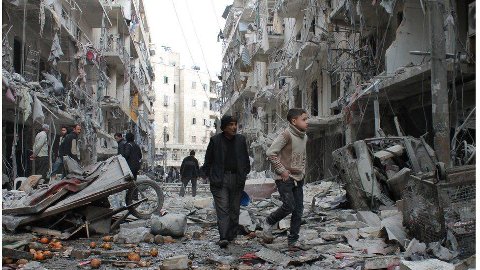 Aleppo street rubble