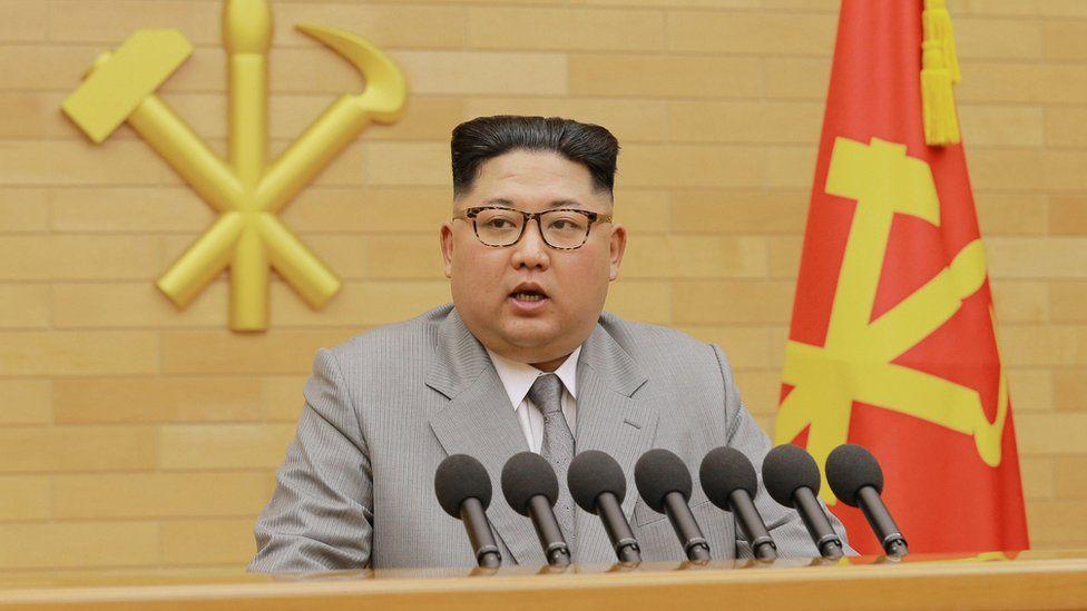 Kim Jong-un giving his new year address