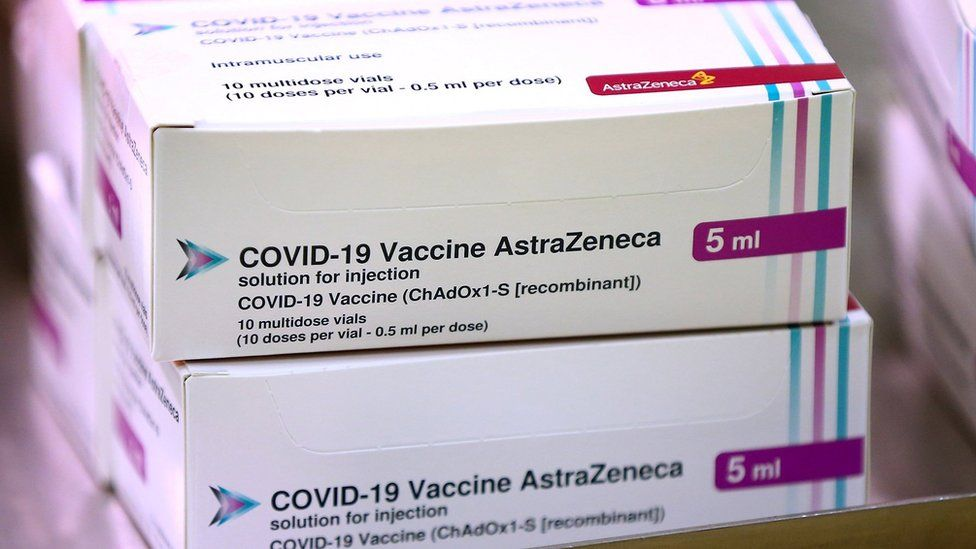 Boxes of AstraZeneca vaccine