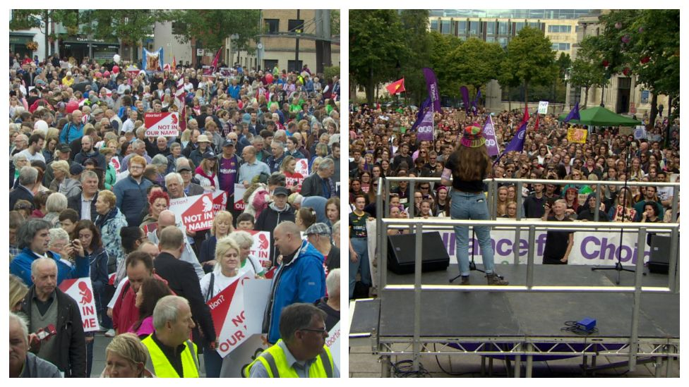Pro choice and anti abortion rallies in Belfast