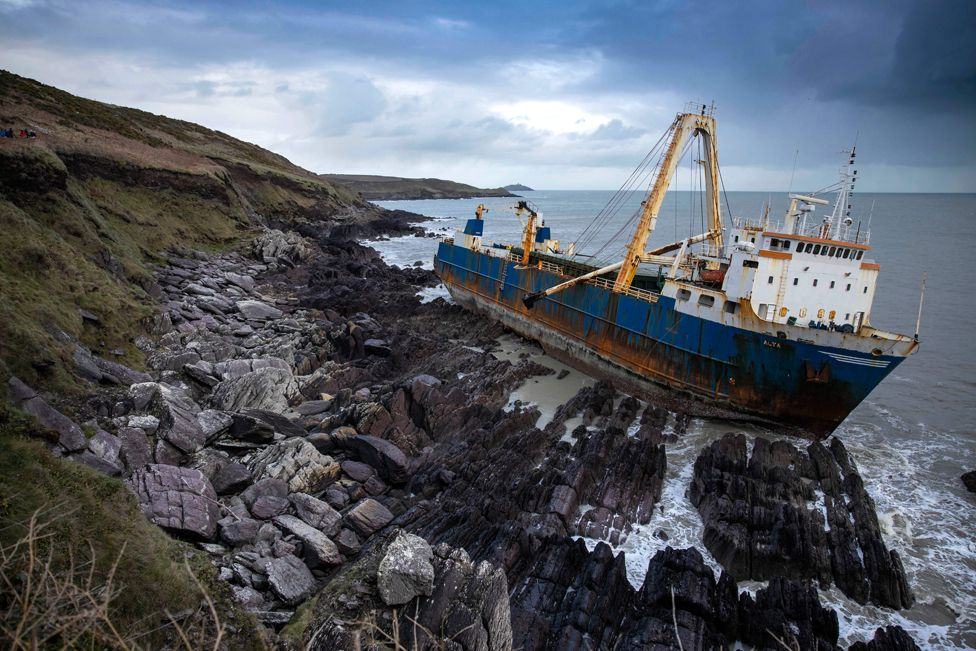 The abandoned ghost ship Alta stuck on the rocks of the Irish coast