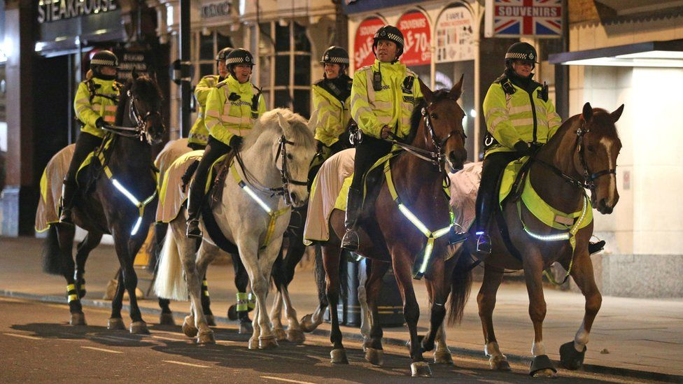 Mounted Police in Haymarket in London on New Year's Eve