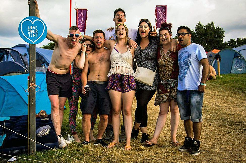 Kirsty and her friends at Nozstock Festival, 2016
