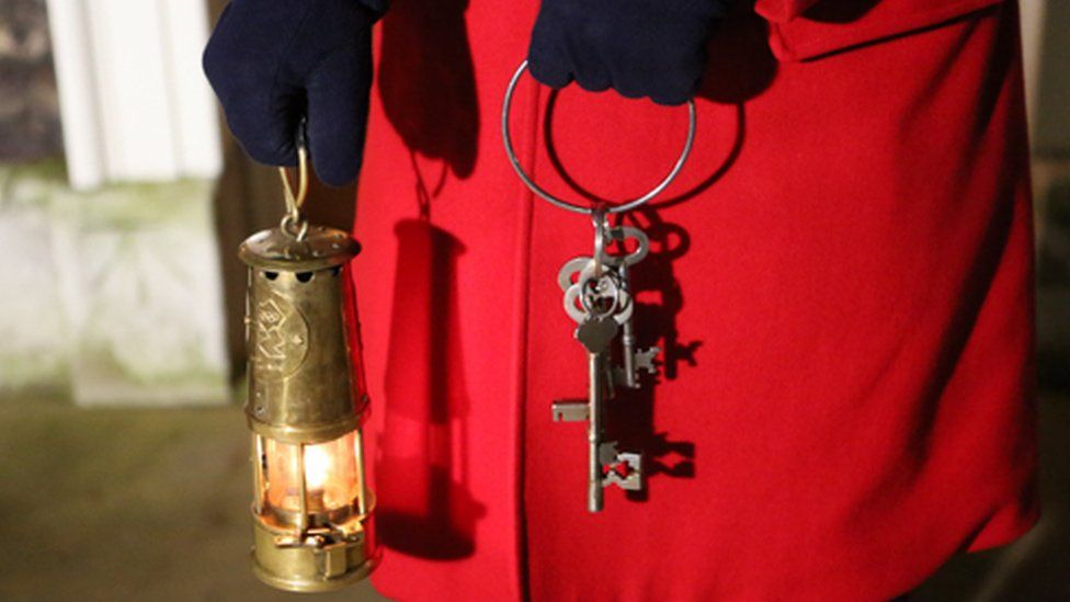 The keys at the Tower of London being held by a Yeoman Warde