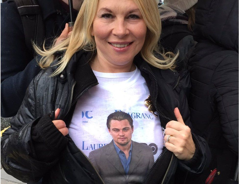 Mega fan Carol Honeyman, 49, drove from Larbert at 05:00 to be first in line to see Leonardo DiCaprio in Edinburgh