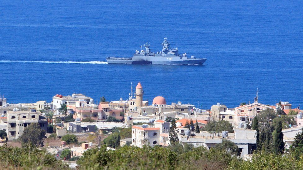 A United Nations Interim Force in Lebanon (UNIFIL) naval ship is pictured in the Mediterranean Sea off the southern Lebanese town of Naqoura (14 October 2020)