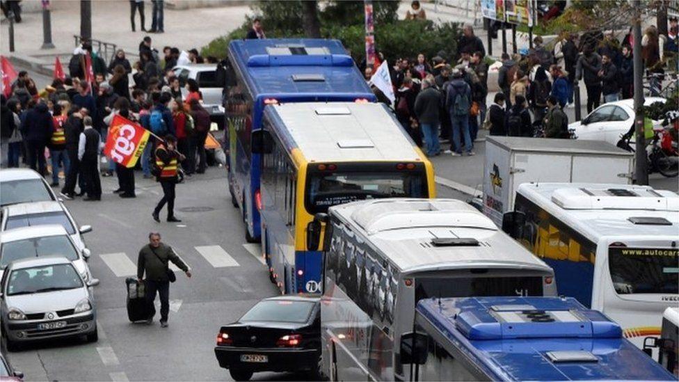 demonstrators block buses in Marseille