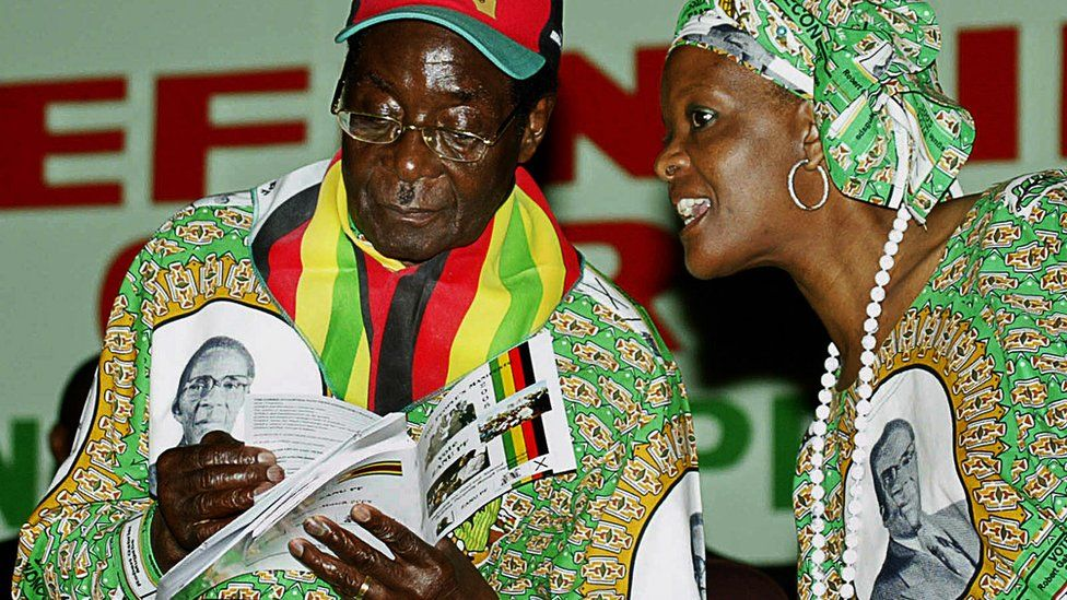 Robert Mugabe and his wife Grace of the ruling party (Zanu PF) rally at the launch of his party's manifesto in Harare on February 29, 2008