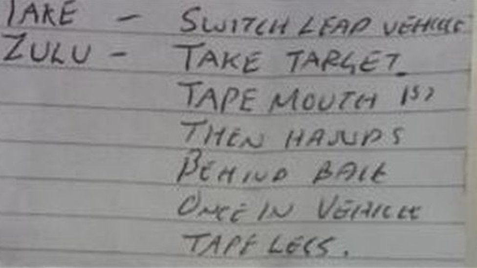 Handwritten instructions on how to kidnap
