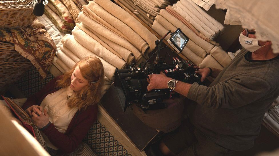Actress Emily Beecham filming The Pursuit of Love at The Bottle Yard Studios