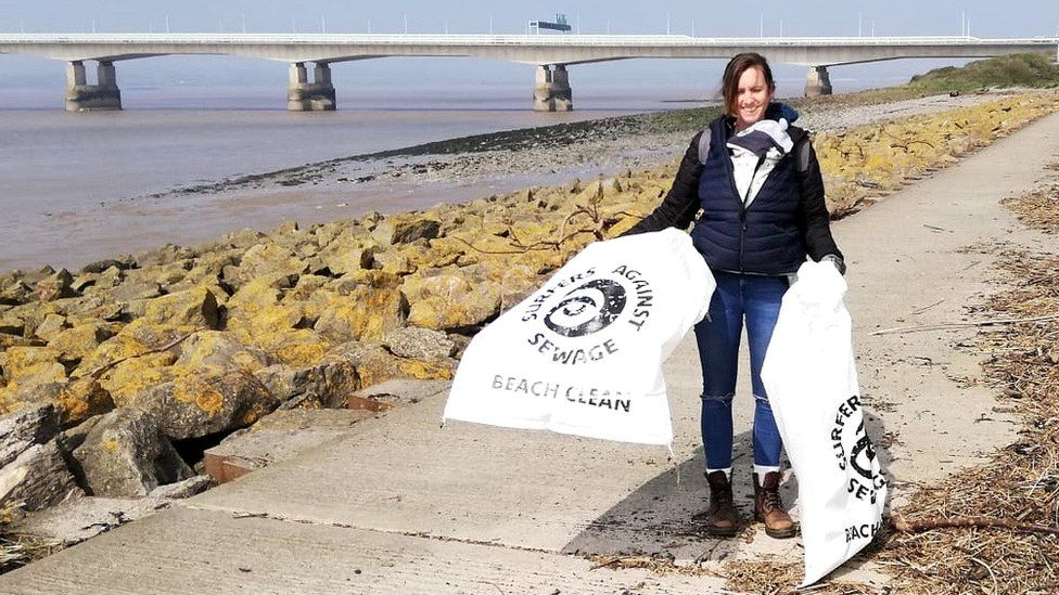 Surfers Against Sewage volunteer Charlotte England on a beach clean near the Severn Crossing