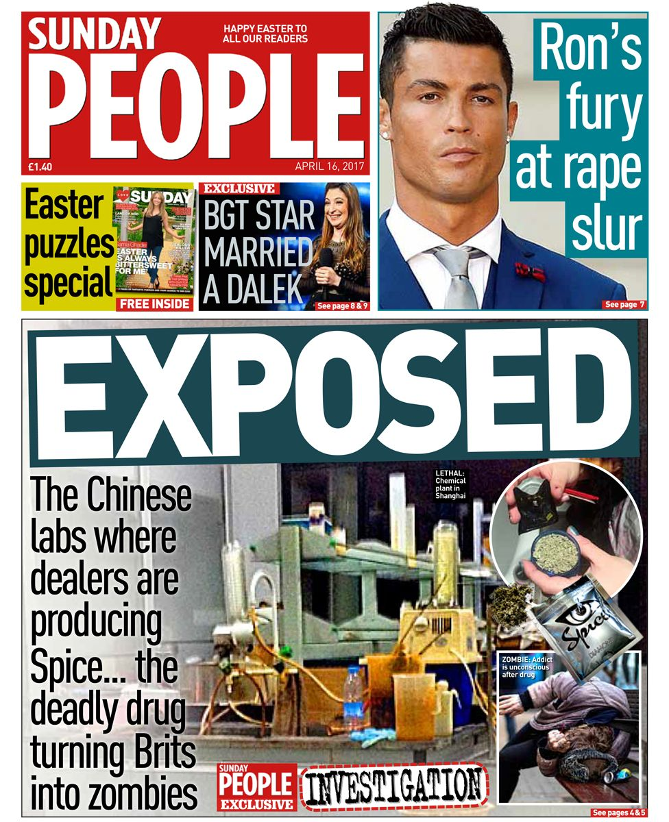 Sunday people front page - 16/04/17