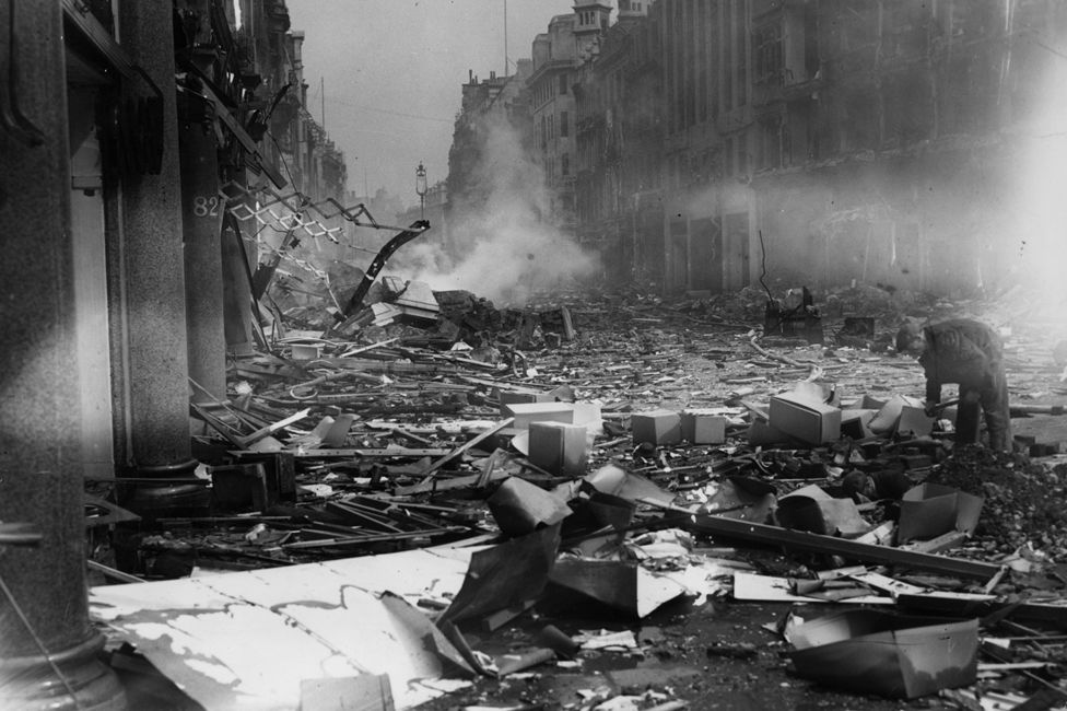 Destruction caused on Oxford Street during the Blitz