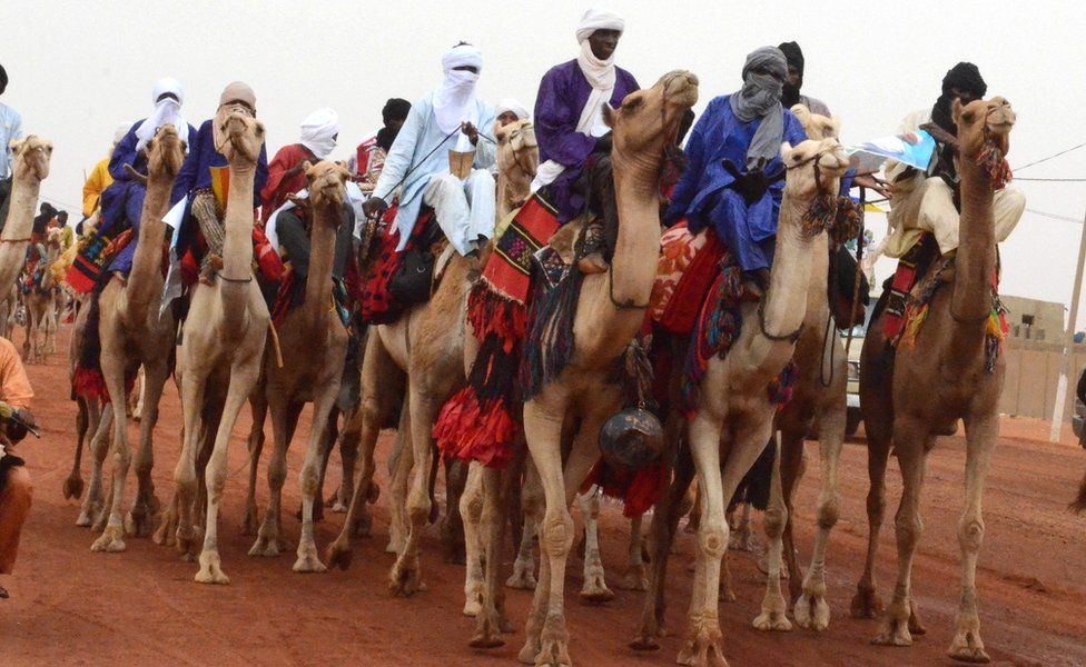 People on camels in Gao, Mali - Wednesday 18 July 2018