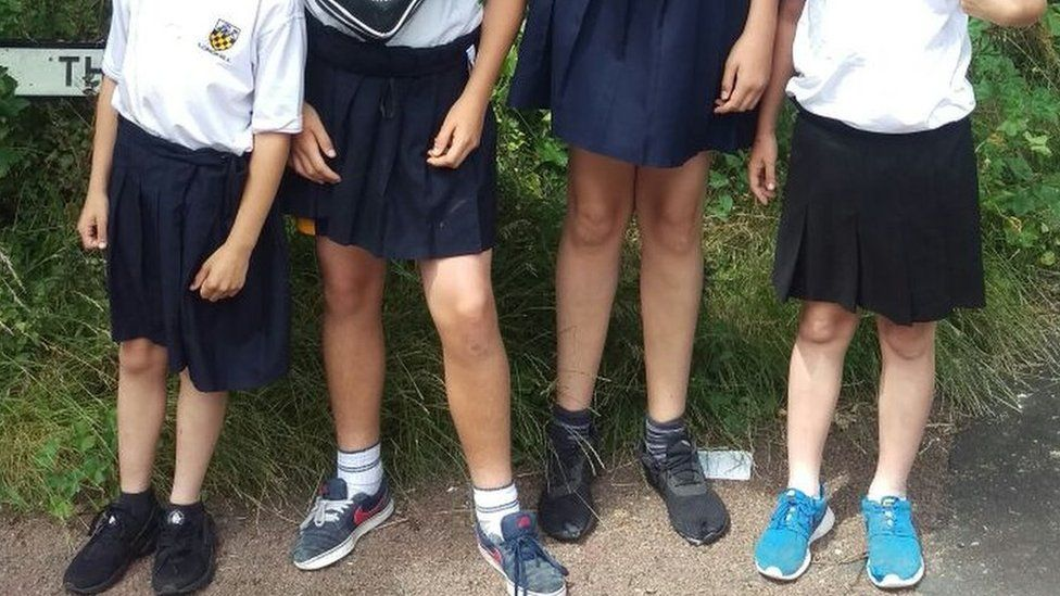 Boys in skirts at a school in East Sussex