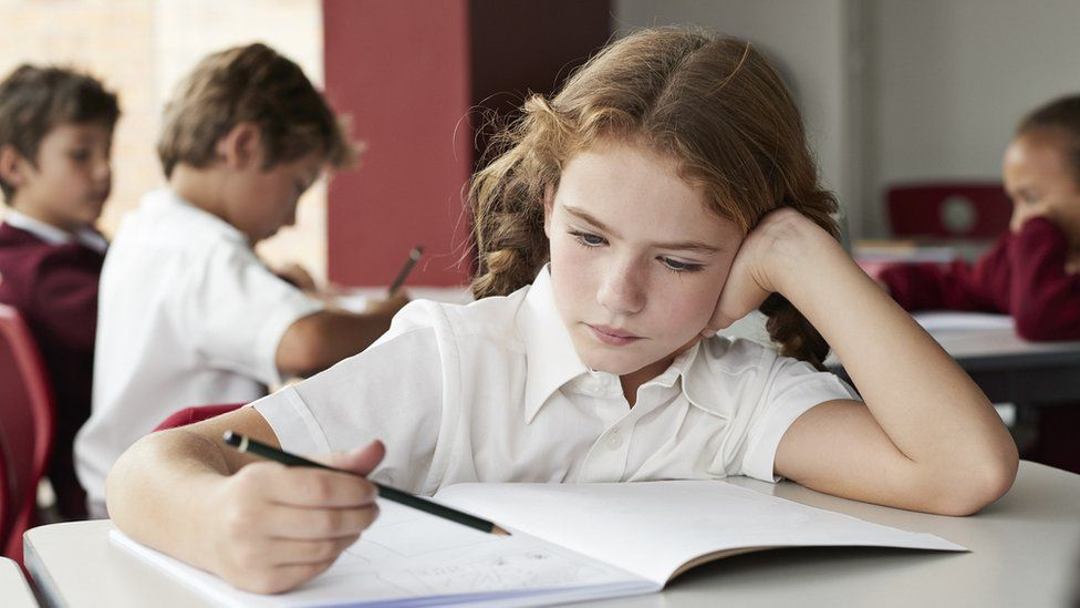 Child studying at school