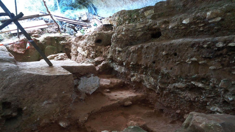 Handout photo issued by M-H Moncel/Histoire Naturelle de l'Homme Préhistorique showing the Abri du Maras archaeological site in France