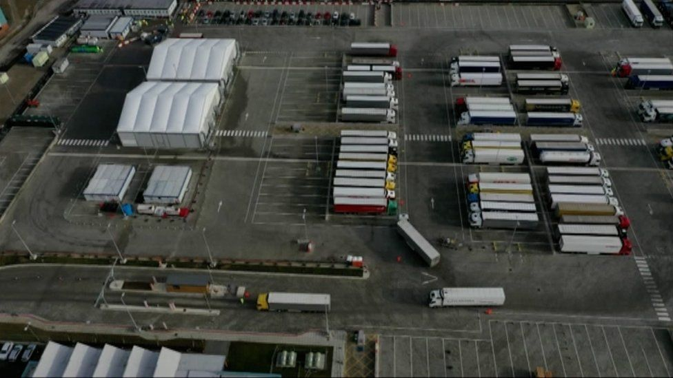 A drone shot of lorries parked at Waterbrook lorry park