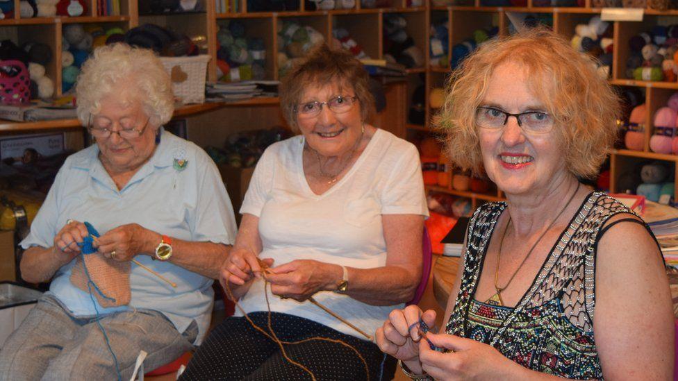 Members of a knitting club in Cowbridge