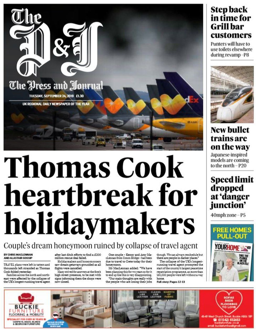 Scotland's papers: Thomas Cook 'fat cats' and holiday