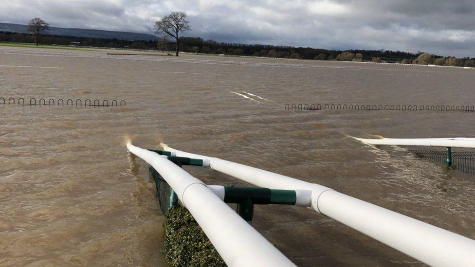 A flooded Bangor on Dee racecourse