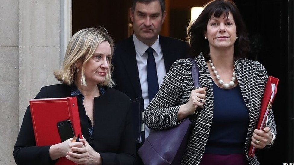 Amber Rudd (left), David Gauke and Claire Perry leave Downing Street
