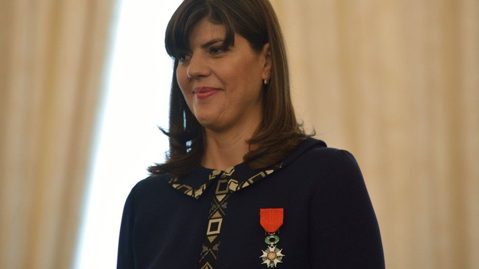 The chief prosecutor of the Anti-Corruption Prosecutor's Office (DNA) Laura Kovesi receives the Chevalier of the Legion of Honour at the French Embassy in Romania, Bucharest June 7, 2016