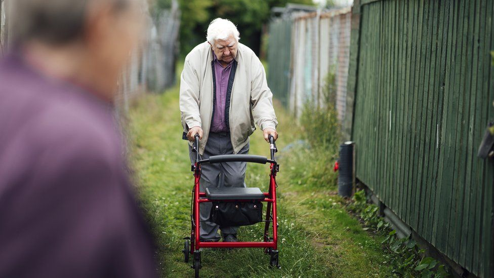 A man walking in allotments