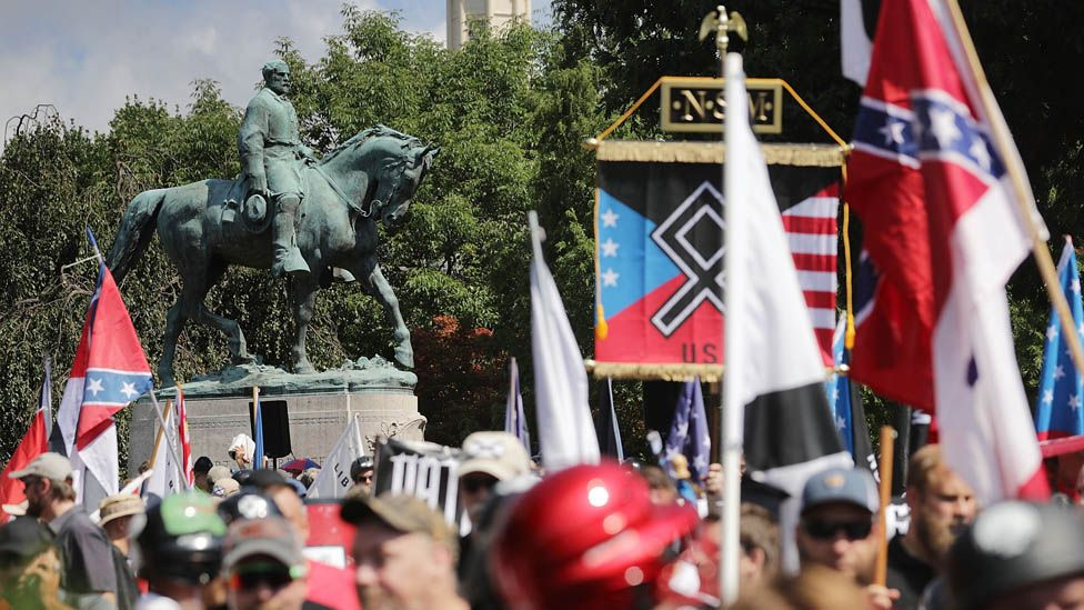 Unite the Right March in Charlottesville, Virginia, where a statue of Confederate Gen Robert E Lee was due to be removed