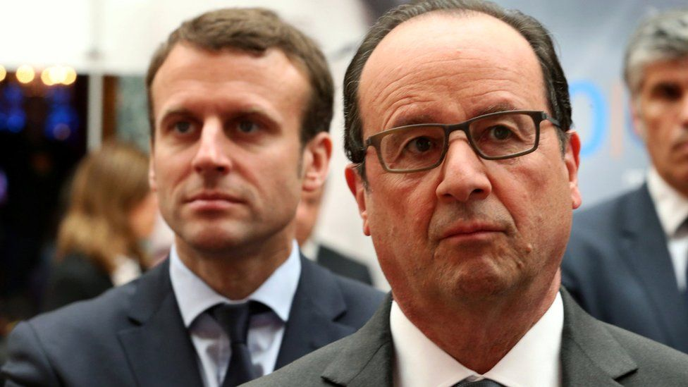 French President Francois Hollande (R) and French Economy Minister Emmanuel Macron (L) attend the Nouvelle France Industrielle event at the Elysee Palace in Paris, France, May 23, 2016