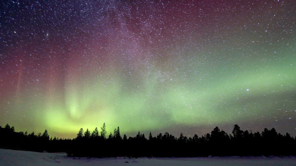 The Northern Lights appearing over Finland