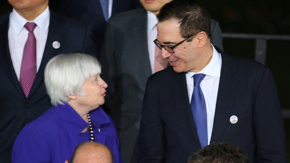 Federal Reserve chair Janet Yellen and Treasury Secretary Steve Mnuchin at the recent G20 finance ministers meeting
