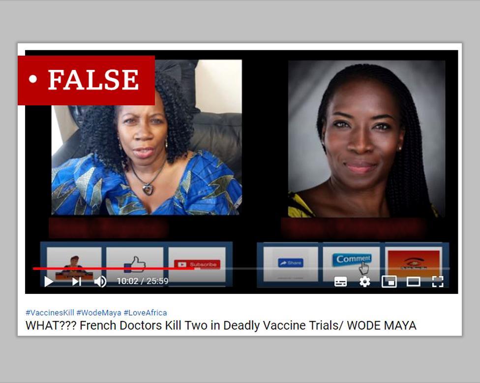 """A screenshot from a YouTube video labelled """"False"""". The title of the video reads """"WHAT??? French Doctors Kill Two in Deadly Vaccine Trials/ WODE MAYA""""."""