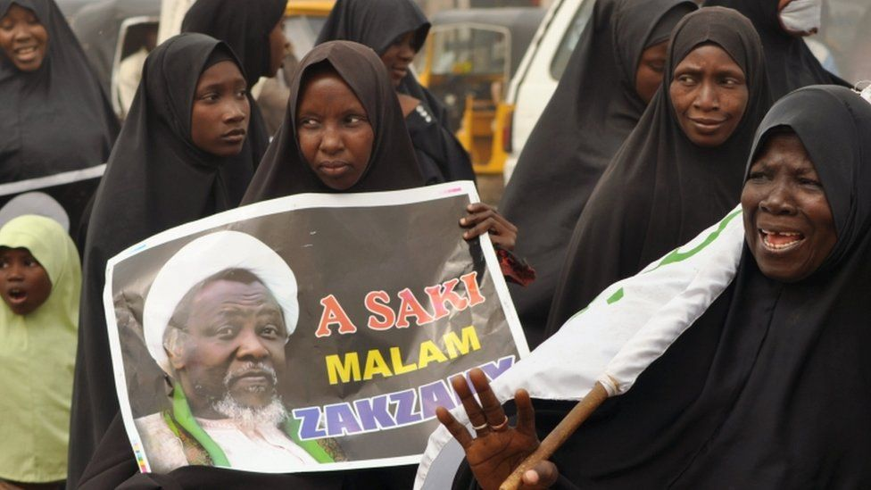 Shia taking part in a parade call for the release of the leader of Islamic Movement in Nigeria, Ibrahim Zakzaky, in Kano, Nigeria December 24, 2015