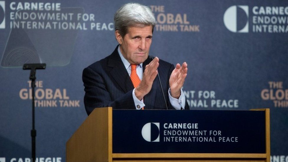 U.S. Secretary of State John Kerry discusses U.S. policy towards the Middle East at the Carnegie Endowment for International Peace offices October 28, 2015 in Washington, D.C
