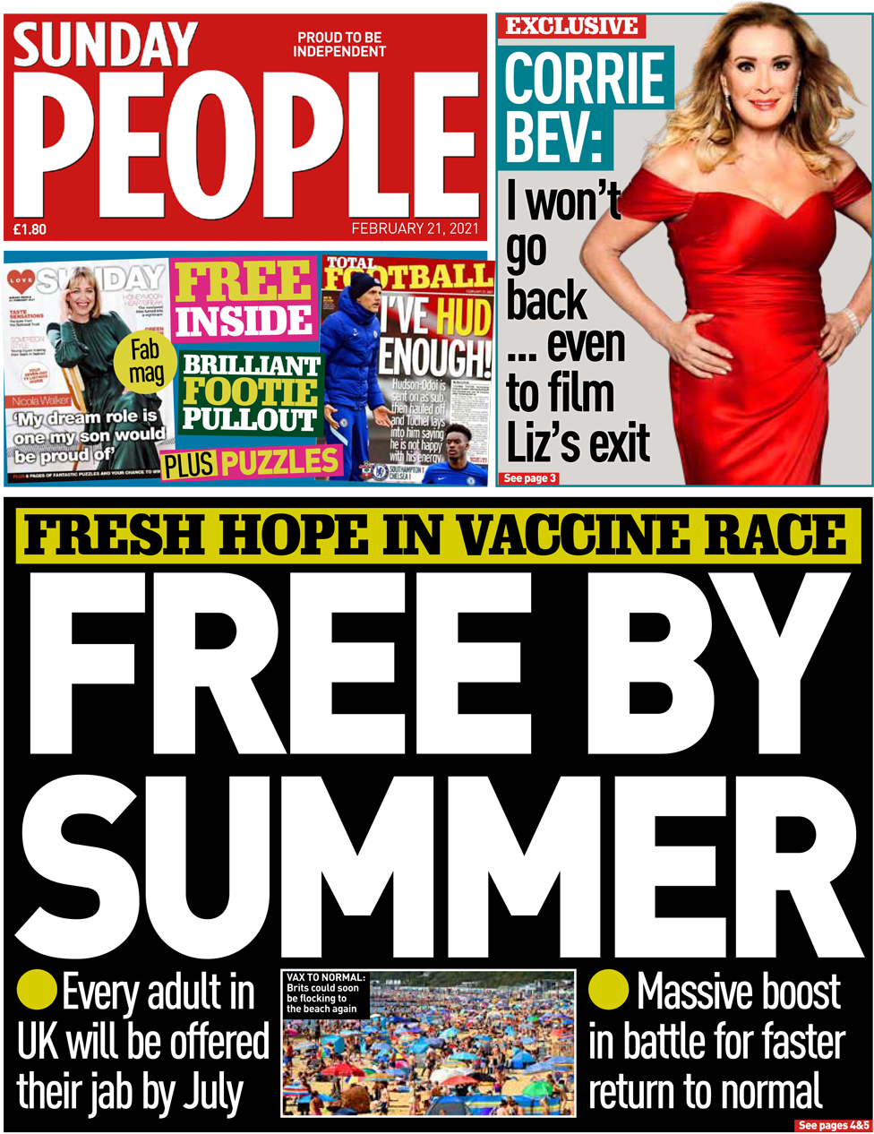 The Sunday People front page 21 February 2021