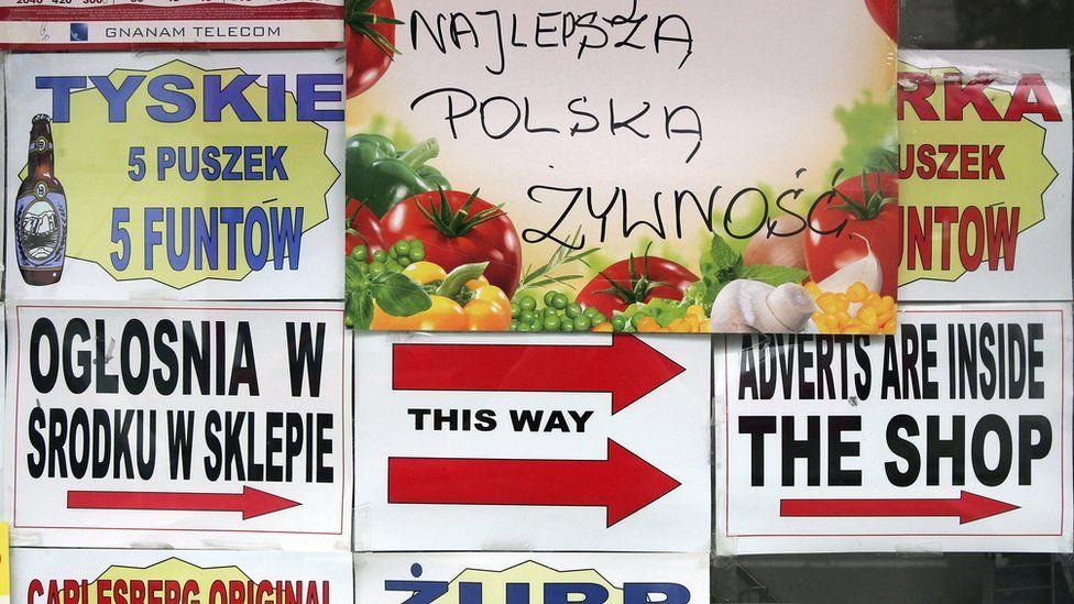 Polish adverts in a shop window in London