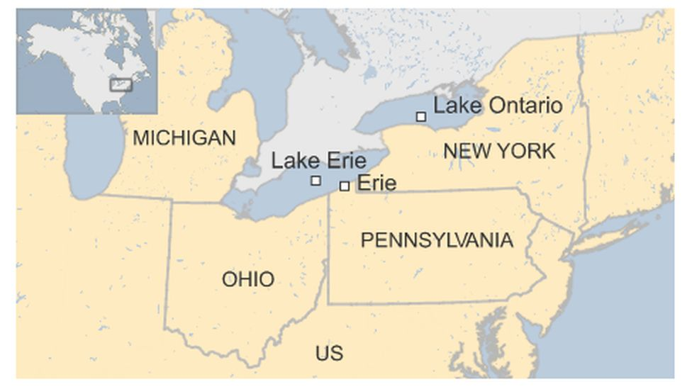 Map of the US Great Lakes region