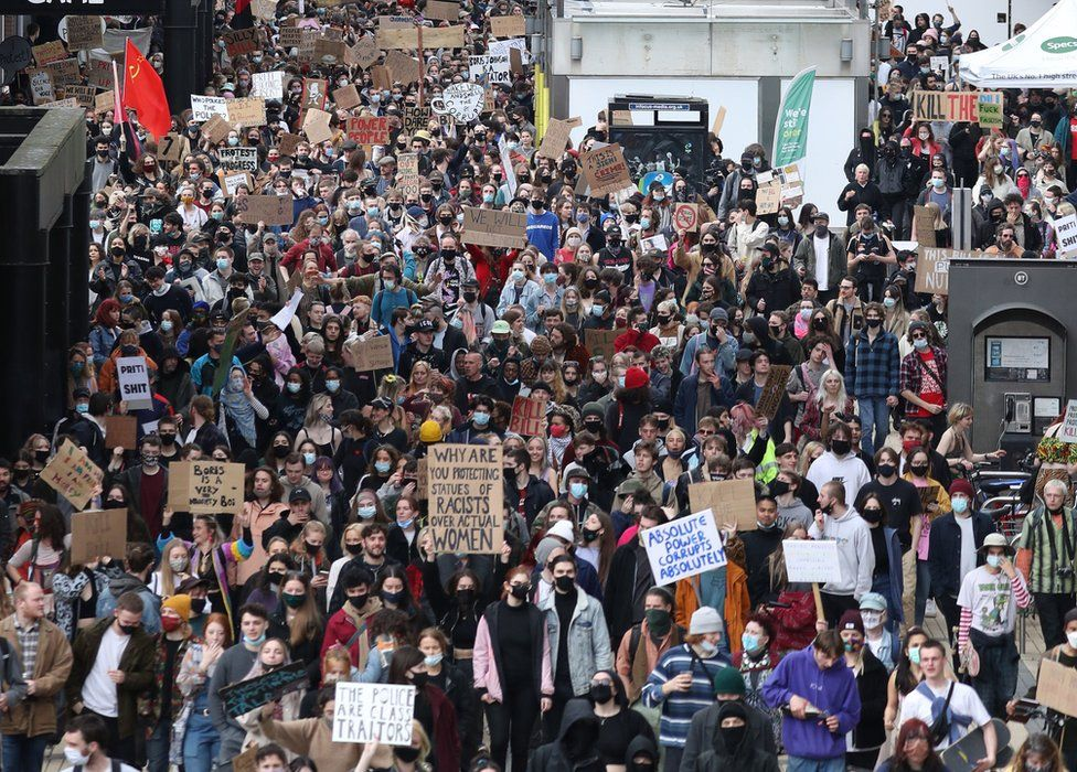Thousands walk through the streets of Bristol
