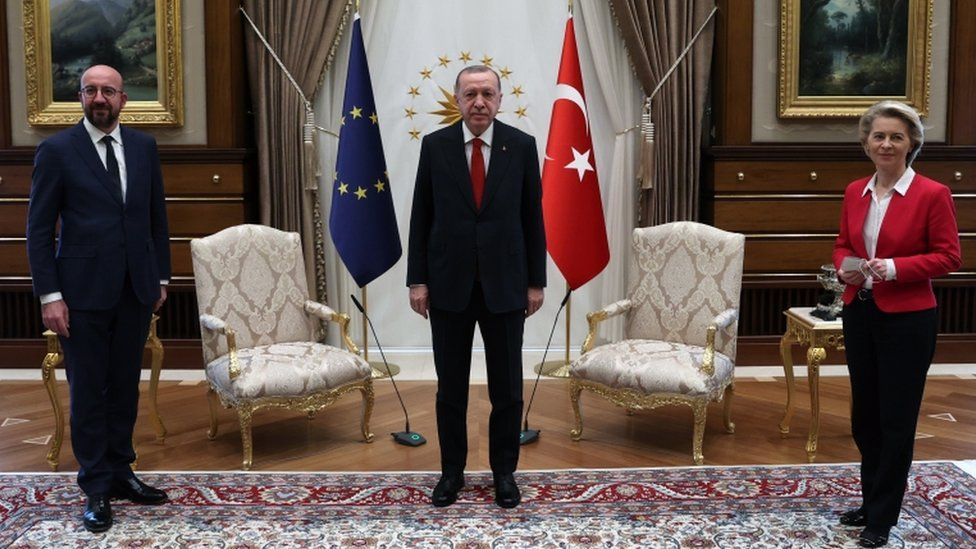 Turkish President Recep Tayyip Erdoğan (C), EU Council President Charles Michel (L) and President of EU Commission Ursula Von der Leyen (R) pose before their meeting at the Presidential Place in Ankara, Turkey, 6 April 2021