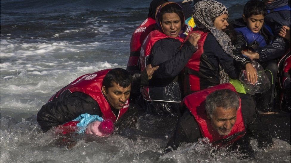 Afghan migrants arriving on Lesbos by boat, 28 Oct 15