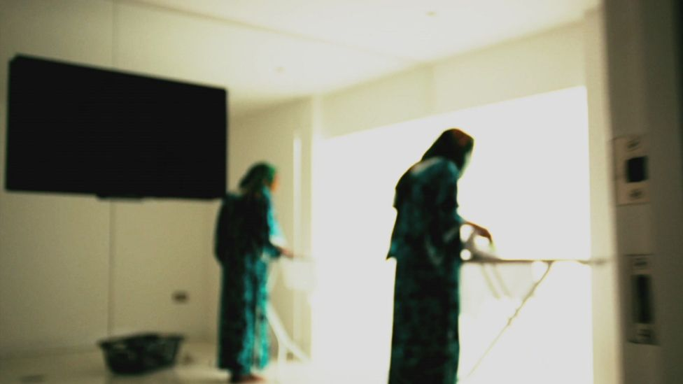 Maids photographed in Abu Dhabi