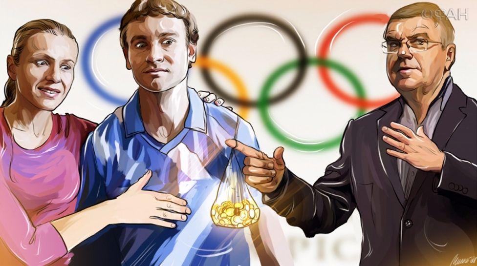 A cartoon on the Russian website Riafan.ru depicts Yuliya Stepanova and her husband accepting money