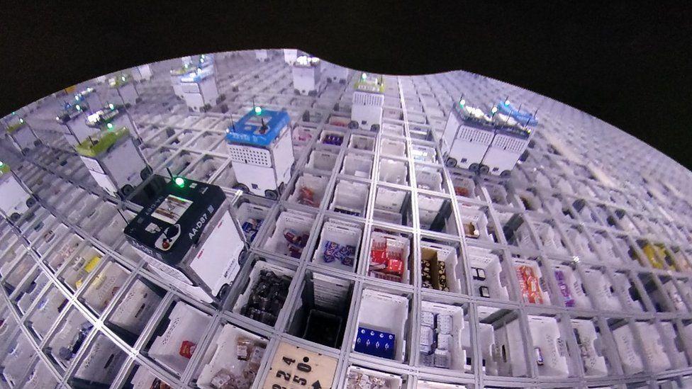 birds eye view of Ocado robots