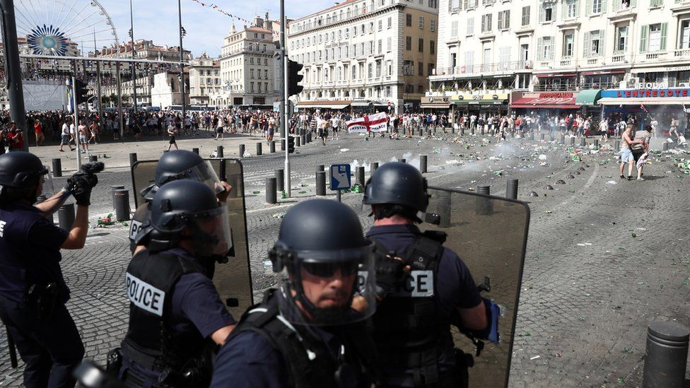 England fans clash with police ahead of the game against Russia later today on June 11, 2016 in Marseille, France.